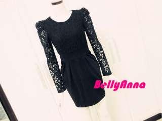 Elegant Black Lace Shrug Shoulder Cocktail Formal Dress