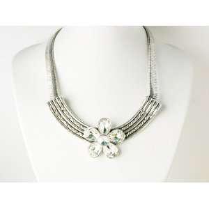 Bead Flower Silvertone Metal Fashion Collar Necklace Jewelry