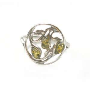 Green Amber & Sterling Silver Vine Ring   Size 8.5 Amber
