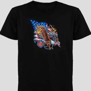 Fire N Rescue American Firefighters Eagle USA T Shirt