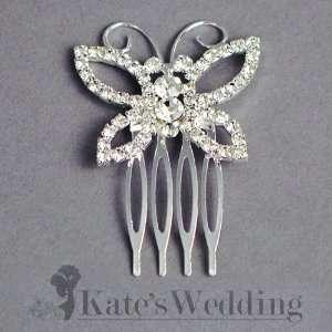 Bridal Wedding Side Comb Chic Butterfly Rhinestone Crystal Bridal Hair
