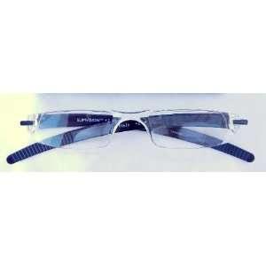 D49) Reading Glasses, 1/2 Eye Frame With Black Plastic Temples , +1.75