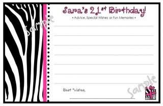 20 Fun ZEBRA Print Birthday Party Fun WISH ADVICE Cards
