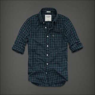 NWT ABERCROMBIE Hollister Mens Button Down Plaid Shirt Long Sleeves S