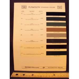 1940 PLYMOUTH Paint Colors Chip Page Chrysler Cororation
