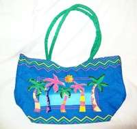 Shoulder Purse BEACH BAG Sequins PALM TREES Travel Canvas LINED