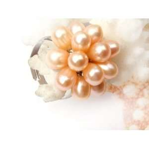 5 6mm pink pearl white gold plated ring adjustable size