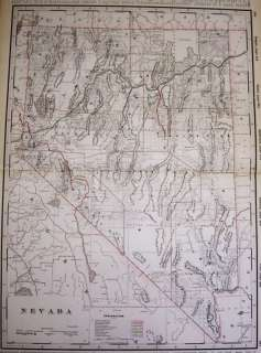 Genuine 1894 map of Nevada from Crams Railroad Atlas