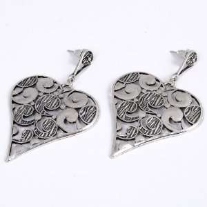 Tibetan Silver Love Heart Hollow Out Pattern Stud Dangle