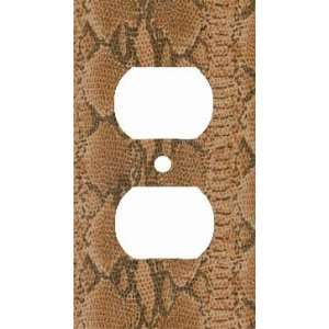 Brown Snake Skin Print Decorative Outlet Cover