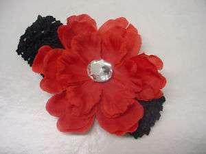 Flower stretch Crochet Headband Girl Baby Black w Red