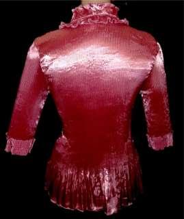 ROSE PINK Shiny LIQUID SATIN Ruffle BLOUSE shirt top MEDIUM