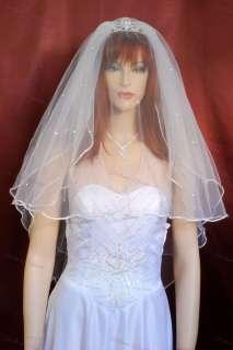 3T Ivory Satin Rattail Rhinestone Wedding Veil 25x30x36