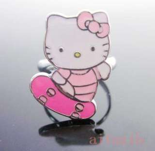 Adjustable Cute Hello Kitty Metal Pink Bow Ring c7