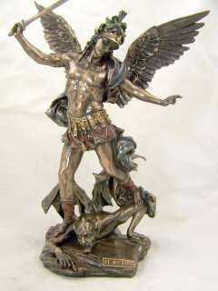 Bronze Saint St. Michael W Helmet Sword Catholic Statue