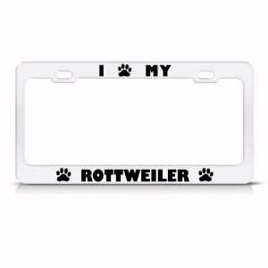 Rottweiler Dog White Animal Metal License Plate Frame Tag
