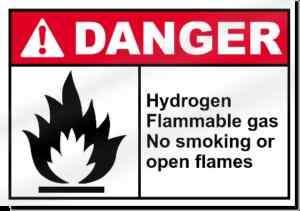 Hydrogen Flammable Gas No Smoking Danger Sign