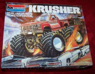 KRUSHER FORD MONSTER TRUCK PLASTIC MODEL KIT MONOGRAM MADE 1984 1/24
