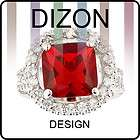 FASHION PERSONALITY RED RUBY RHINESTONE WHITE GOLD GP COCKTAIL RING 8