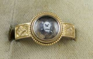 VICTORIAN CRYSTAL SKULL MOURNING 15CT GOLD RING