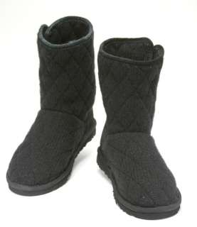 UGG Mountain Quilted Womens Black Bailey Button Classic Knit Boot Size