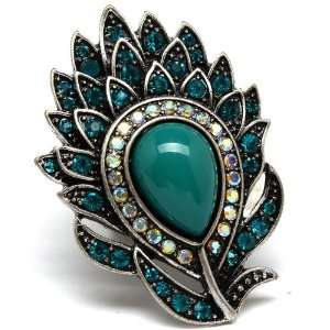 Teal Green Crystals Buddah Water Lilly Flower Ring