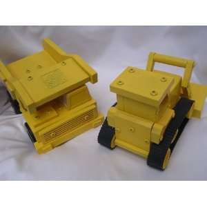 Wooden Toy Dump Truck & Road Grader 8 ; Builder Construction Set of 2