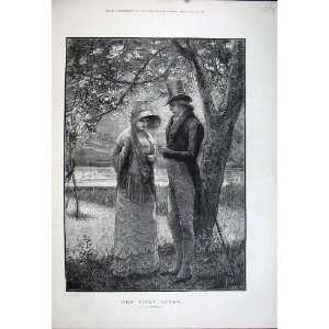 1881 Fine Art Man Woman Romance River Swans Bird Trees