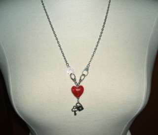 LOVE SLAVE Necklace HANDCUFFS Lock Key RED HEART Glass