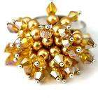d8204 Ladys Gold Bicone Crystal Glass Beads Adjustable Cooktail Ring