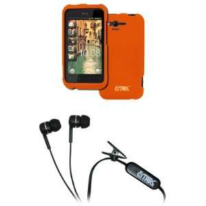 EMPIRE HTC Rhyme Orange Rubberized Hard Case Cover + Stereo Hands Free