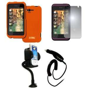 EMPIRE HTC Rhyme Orange Rubberized Hard Case Cover + 360