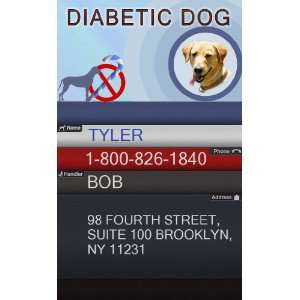 DIABETIC DOG ID Badge   1 Dogs Custom ID Badge   Design#1