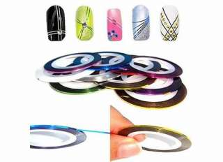 New 10 Color Rolls Striping Tape Line Nail Art Sticker / Card