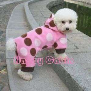 Pet Dog Puppy Doggie Apparel Warm Clothes Pink Dot oversuit Jampsuit