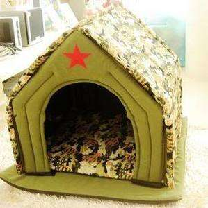 Pet Dog Cat Green Army Tent House Dog Soft Bed House Medium