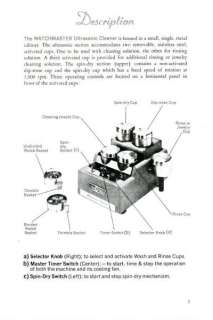 Watchmaster Model WT Cleaner INSTRUCTIONS MANUAL & SCHEMATICS PDF   CD