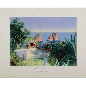 1910 Capri Italy Landscape Color Print Children Ocean   Original Print