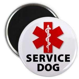 RED SERVICE DOG ALERT Medical Alert 2.25 Fridge Magnet