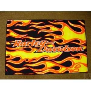 Harley Davidson Motorcycle Flames Throw Area Rug Indoor Outdoor