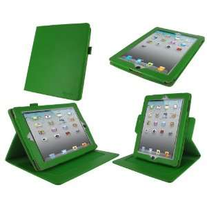 rooCASE Dual Axis (Green) Leather Folio Case Cover with 23