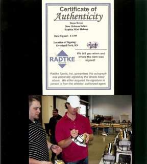 Drew Brees Signed/Autographed New Orleans Saints Mini Helmet