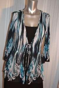 Dress Barn Long Multi Color Top Size Medium