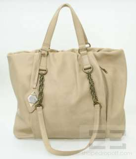 Rachel Zoe Tan Pebbled Leather & Gold Chain Large Tote Bag