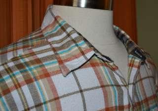 SLEEVE WHITE BLUE BROWN 100% COTTON FLANNEL PLAID SHIRT MENS XL