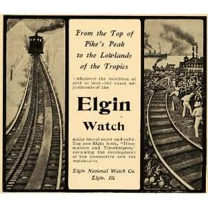 1902 Ad Elgin National Watch Pikes Peak Locomotives IL