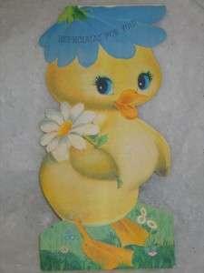 Vintage Jumbo Hallmark Flocked Easter Duck Card 1960s