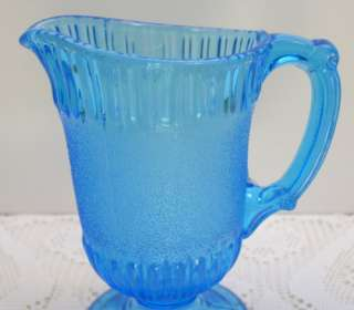 Blue Glass Puffed Bands/Snow Band Pattern Footed Creamer Pitcher EAPG