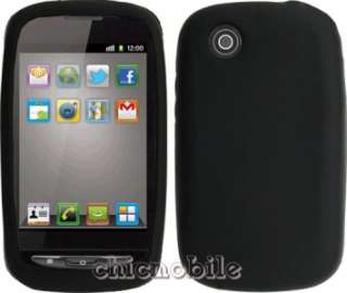 Screen + BLACK Silicone Skin Case Cover Straight Talk ZTE MERIT Phone