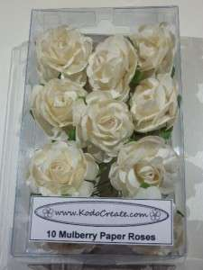 Stemmed Mulberry paper LARGE Open Roses   10 pieces   WHITE   Pretty